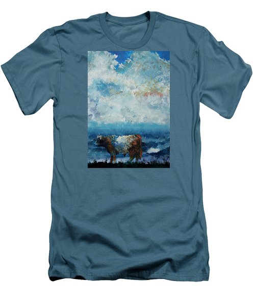 Storms Coming - Belted Galloway Cow Under A Colorful Cloudy Sky Men's T-Shirt (Athletic Fit)