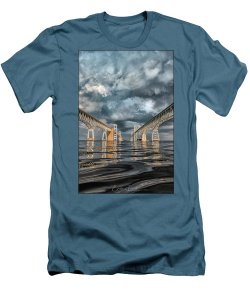 Stormy Chesapeake Bay Bridge Men's T-Shirt (Athletic Fit)