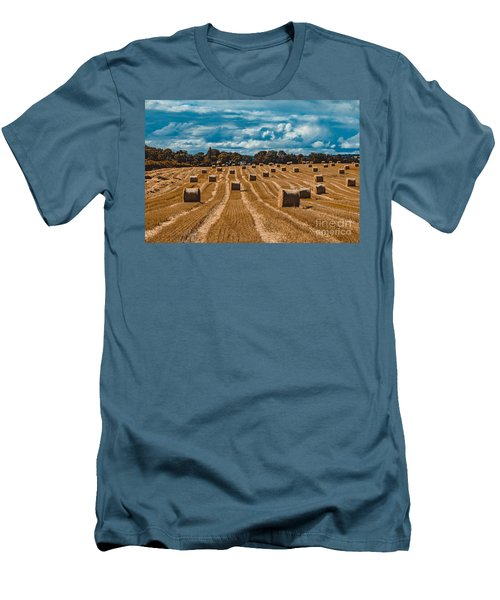 Straw Bales In A Field Men's T-Shirt (Athletic Fit)