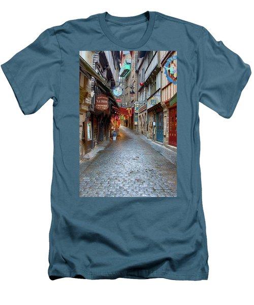 Street Le Mont Saint Michel Men's T-Shirt (Slim Fit) by Hugh Smith
