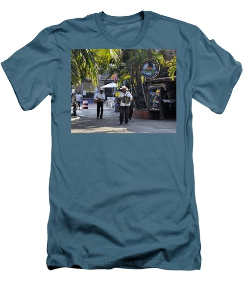 Men's T-Shirt (Slim Fit) featuring the photograph Strolling Musicians by Jim Walls PhotoArtist