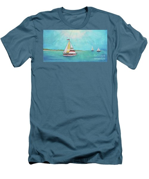 Men's T-Shirt (Slim Fit) featuring the painting Summer Breeze-b by Jean Plout