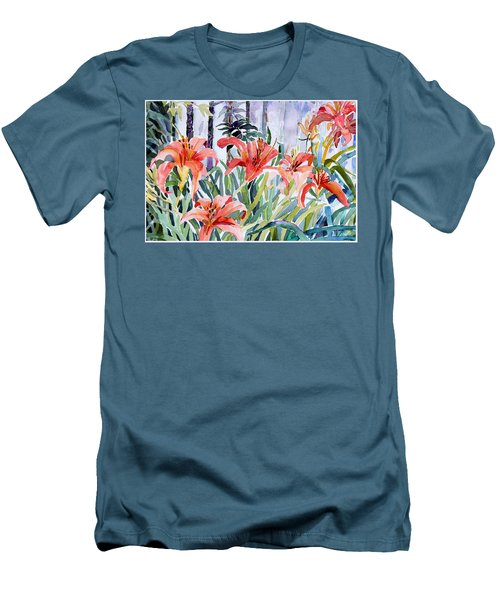 My Summer Day Liliies Men's T-Shirt (Slim Fit) by Mindy Newman