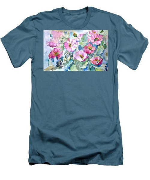 Men's T-Shirt (Slim Fit) featuring the painting Summer Poppies by Iya Carson