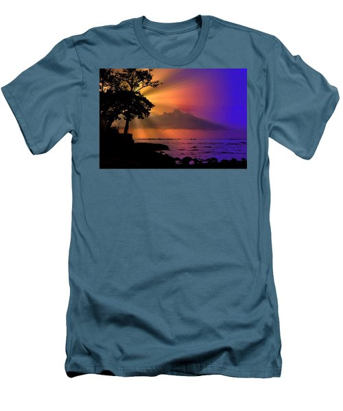 Men's T-Shirt (Slim Fit) featuring the photograph Sun Rays Sunset by Lori Seaman