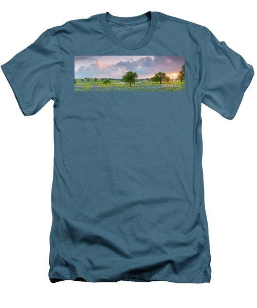 Sun Rising Over A Bluebonnet Field In Chappel Hill - Washington County Brenham Texas Men's T-Shirt (Athletic Fit)