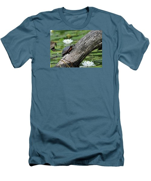 Men's T-Shirt (Slim Fit) featuring the photograph Turtle Sunbathing by Glenn Gordon