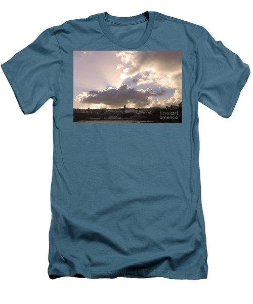 Sunbeams Over Church In Color Men's T-Shirt (Slim Fit) by Nicholas Burningham