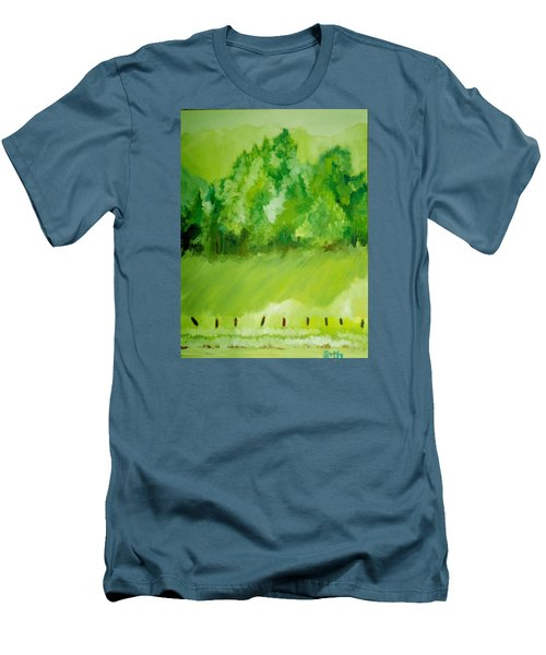Men's T-Shirt (Slim Fit) featuring the painting Sunday At Two Thirty by Seth Weaver