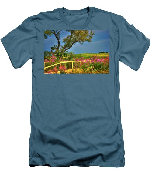 Men's T-Shirt (Athletic Fit) featuring the photograph Sunflower Field - Colby Farm by Joann Vitali