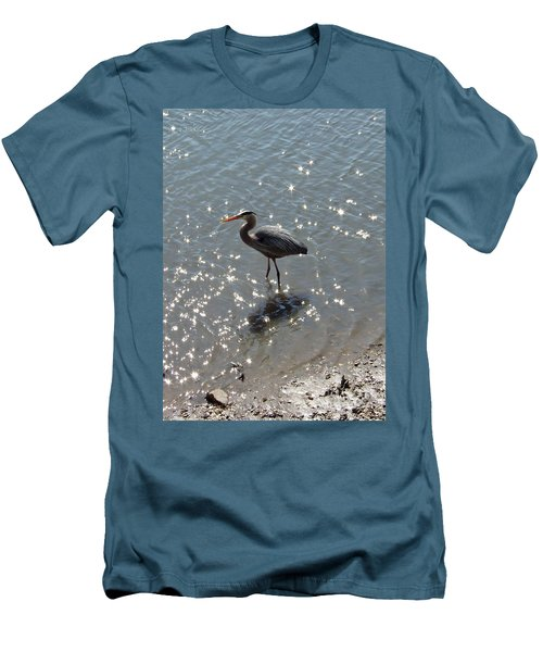Men's T-Shirt (Slim Fit) featuring the photograph Sunlit Heron by Carol  Bradley