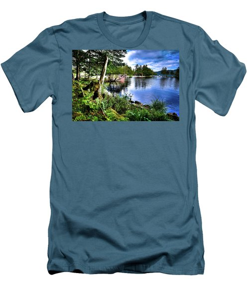 Men's T-Shirt (Athletic Fit) featuring the photograph Sunlit Shore At Covewood by David Patterson
