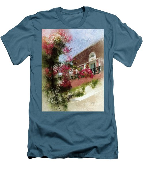 Men's T-Shirt (Slim Fit) featuring the photograph Sunny Santorini by Lois Bryan