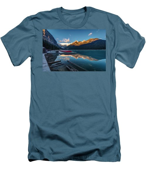 Sunrise At The Canoe Shack Of Lake Louise Men's T-Shirt (Slim Fit) by Pierre Leclerc Photography