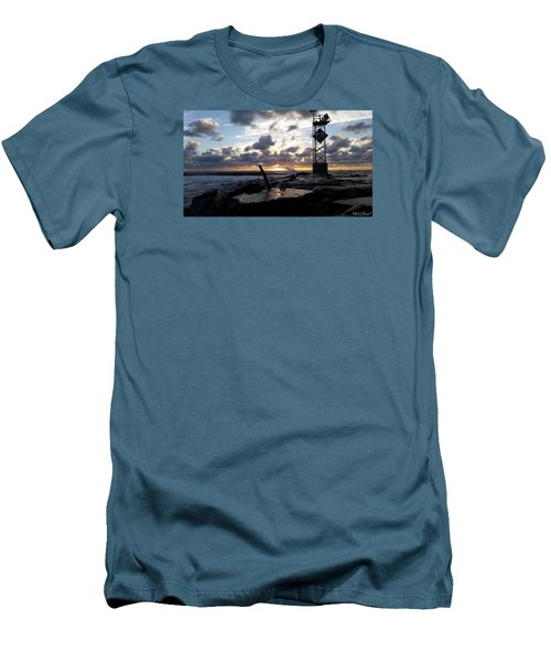 Men's T-Shirt (Slim Fit) featuring the photograph Sunrise Splash On The Jetty by Robert Banach