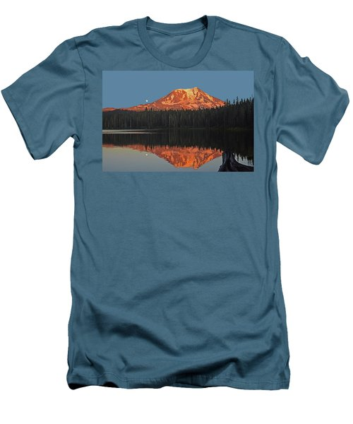 Men's T-Shirt (Slim Fit) featuring the photograph Sunset And Moonrise At Takhlakh Lake by Jack Moskovita