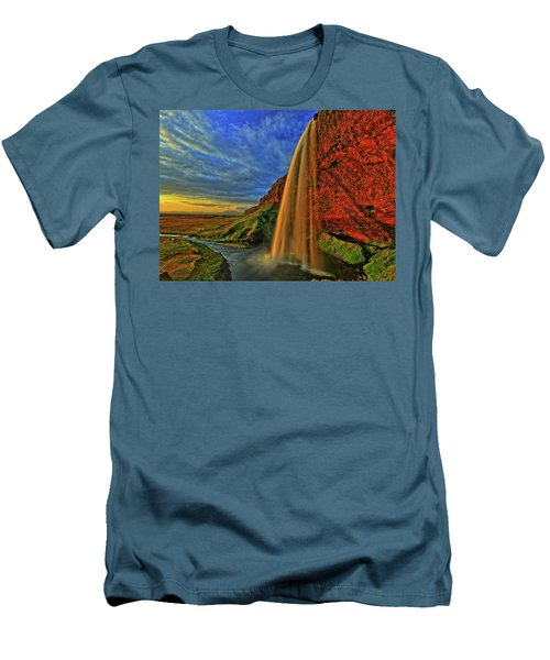 Men's T-Shirt (Slim Fit) featuring the photograph Sunset At The Falls by Scott Mahon