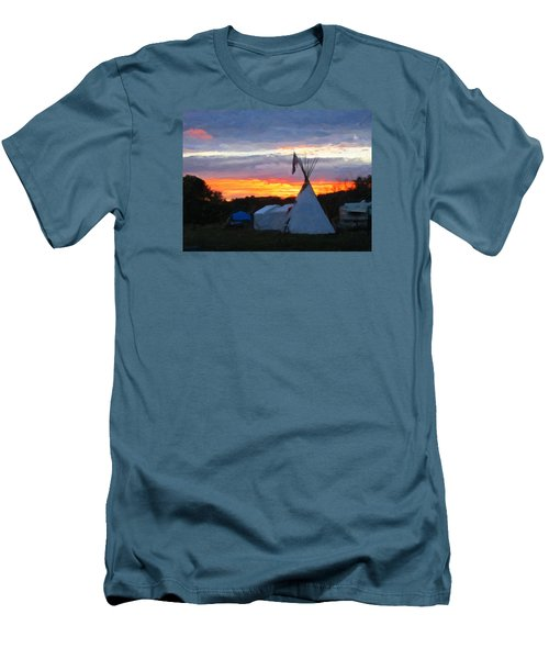 Men's T-Shirt (Slim Fit) featuring the photograph Sunset At The Powwow by Spyder Webb