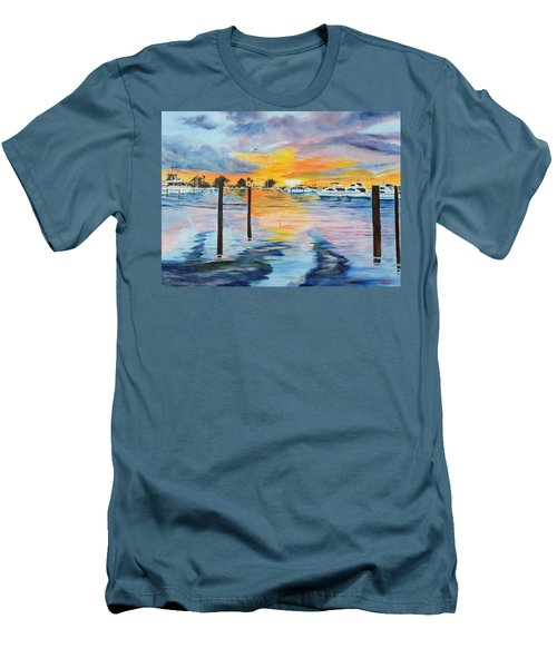 Sunset At The Yacht Club Men's T-Shirt (Slim Fit) by Lloyd Dobson