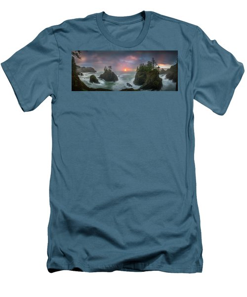 Men's T-Shirt (Athletic Fit) featuring the photograph Sunset Between Sea Stacks With Trees Of Oregon Coast by William Lee