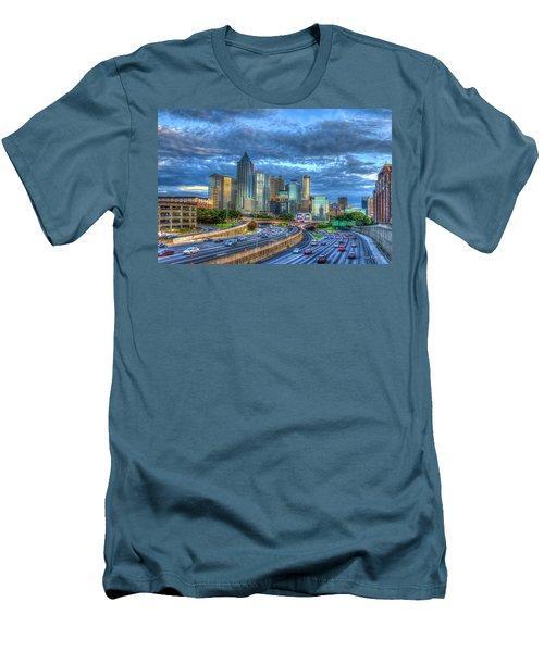 Men's T-Shirt (Athletic Fit) featuring the photograph Sunset Blue Glass Reflections Atlanta Downtown Cityscape Art by Reid Callaway