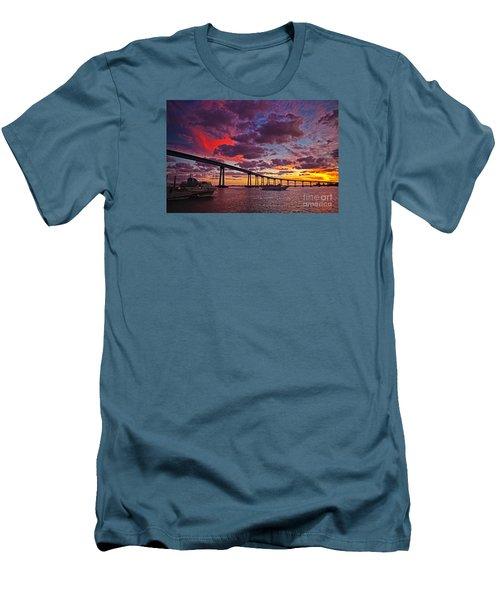 Sunset Crossing At The Coronado Bridge Men's T-Shirt (Slim Fit) by Sam Antonio Photography