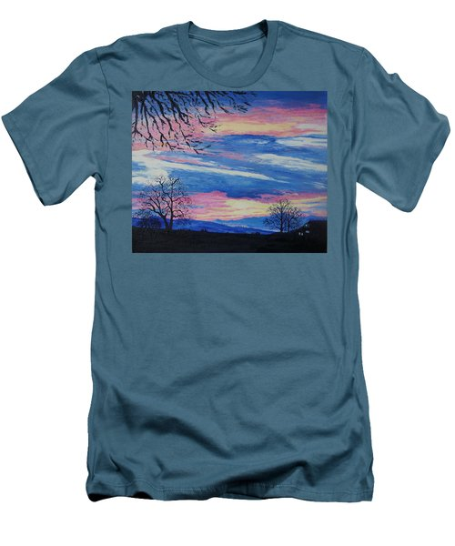 Sunset In The Country Men's T-Shirt (Slim Fit) by Lisa Rose Musselwhite