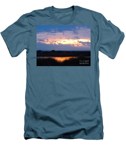 Sunset In The River Sea Beyond Men's T-Shirt (Slim Fit) by Expressionistart studio Priscilla Batzell