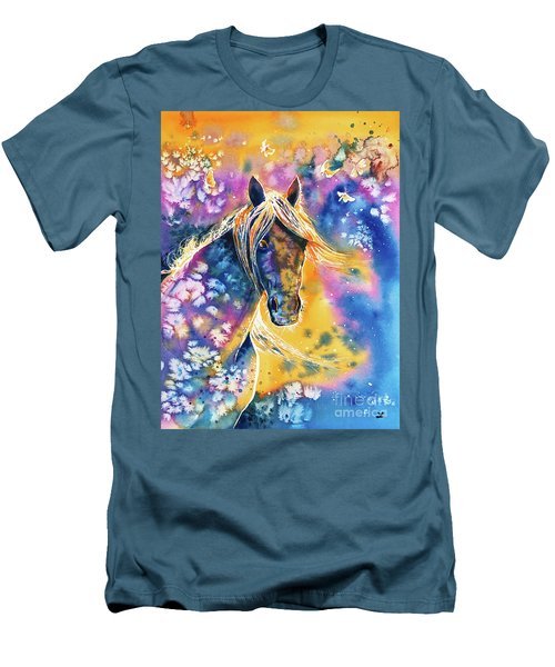 Men's T-Shirt (Athletic Fit) featuring the painting Sunset Mustang by Zaira Dzhaubaeva