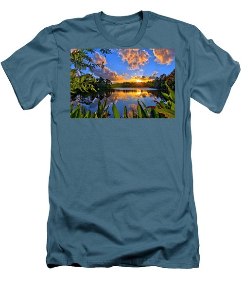 Sunset Over Hidden Lake In Jupiter Florida Men's T-Shirt (Slim Fit) by Justin Kelefas