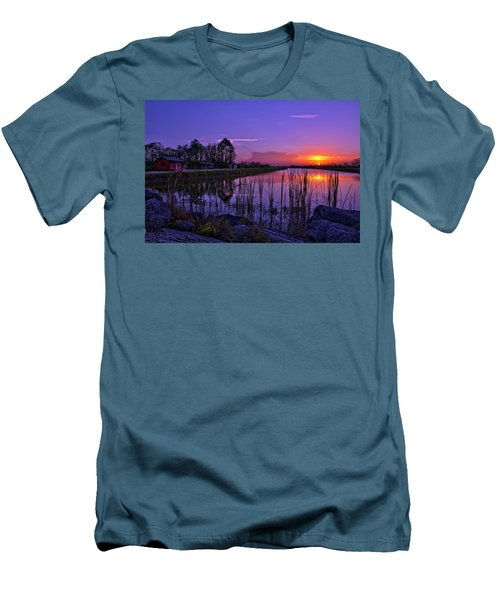 Men's T-Shirt (Slim Fit) featuring the photograph Sunset Over Hungryland Wildlife Management Area by Justin Kelefas