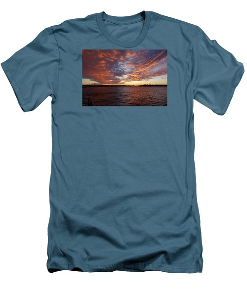 Sunset Over Manasquan Inlet Men's T-Shirt (Slim Fit) by Melinda Saminski