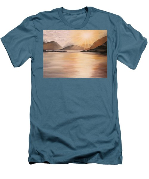 Men's T-Shirt (Athletic Fit) featuring the painting Sunset Over Scottish Loch by Elizabeth Lock