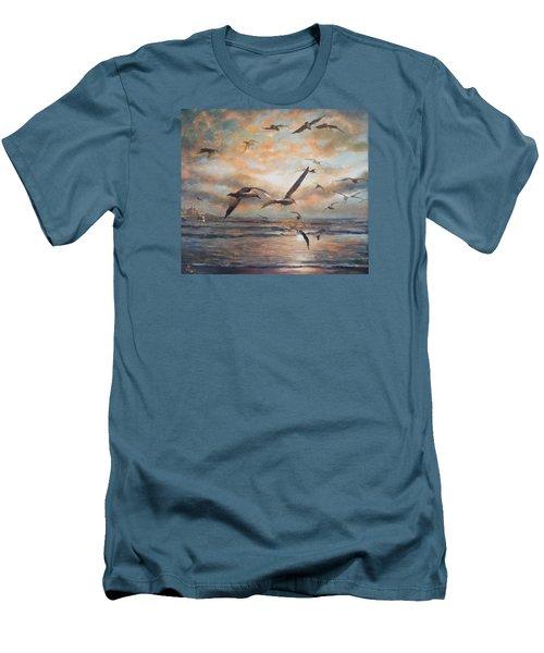 Sunset Over The Sea Men's T-Shirt (Slim Fit) by Vali Irina Ciobanu