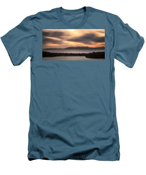 Men's T-Shirt (Slim Fit) featuring the photograph Sunset Over St. John And St. Thomas Panoramic by Adam Romanowicz