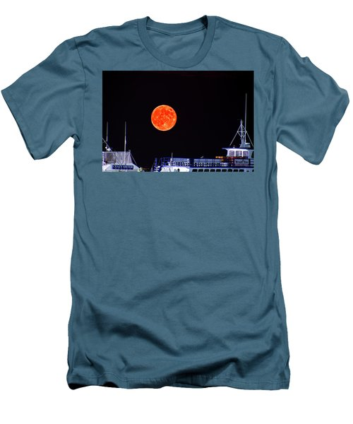 Men's T-Shirt (Slim Fit) featuring the photograph Super Moon Over Crazy Sister Marina by Bill Barber