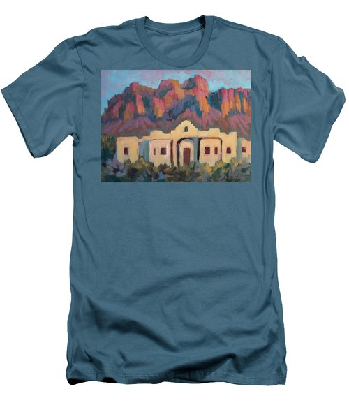 Men's T-Shirt (Slim Fit) featuring the painting Superstition Mountain Evening by Diane McClary