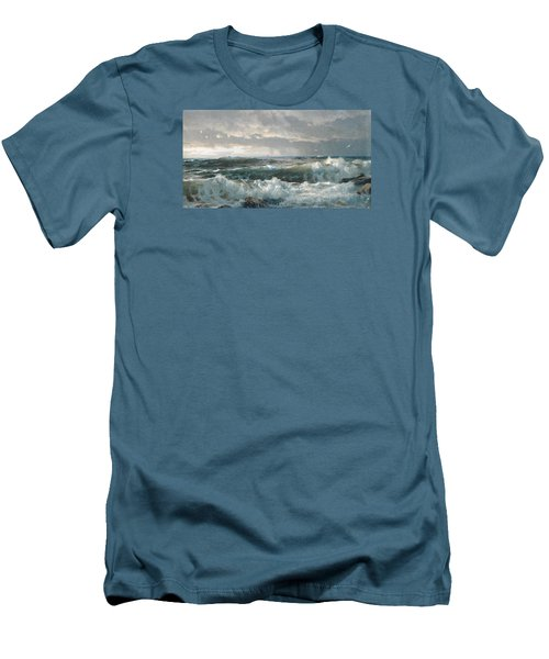 Surf On The Rocks Men's T-Shirt (Slim Fit) by  Newwwman