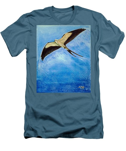 Men's T-Shirt (Slim Fit) featuring the mixed media Swallowtail Sighting by Suzanne McKee