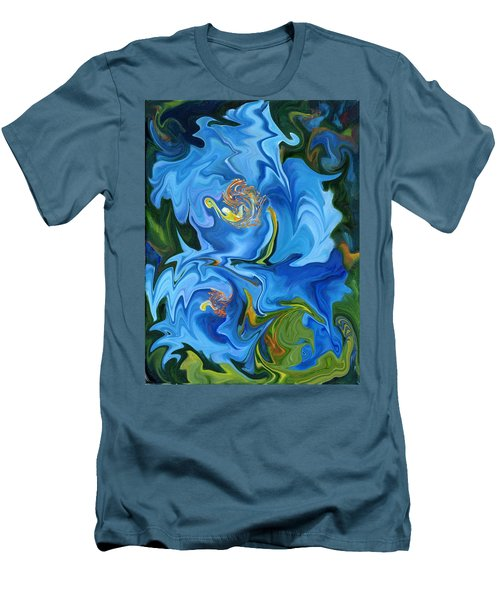 Swirled Blue Poppies Men's T-Shirt (Athletic Fit)