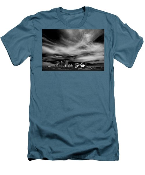 Sydney Skyline With Dramatic Sky Men's T-Shirt (Slim Fit) by Avalon Fine Art Photography