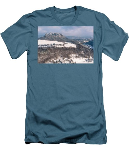 Men's T-Shirt (Athletic Fit) featuring the photograph Table Mountain Pfaffenstein. Saxony by Jenny Rainbow