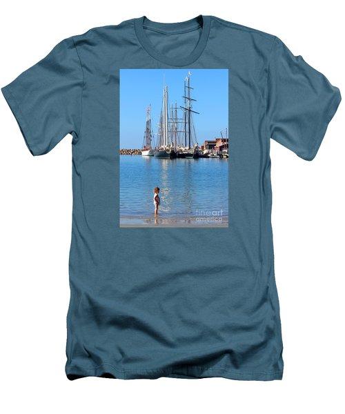 Tall Ship Festival Men's T-Shirt (Slim Fit) by Cheryl Del Toro