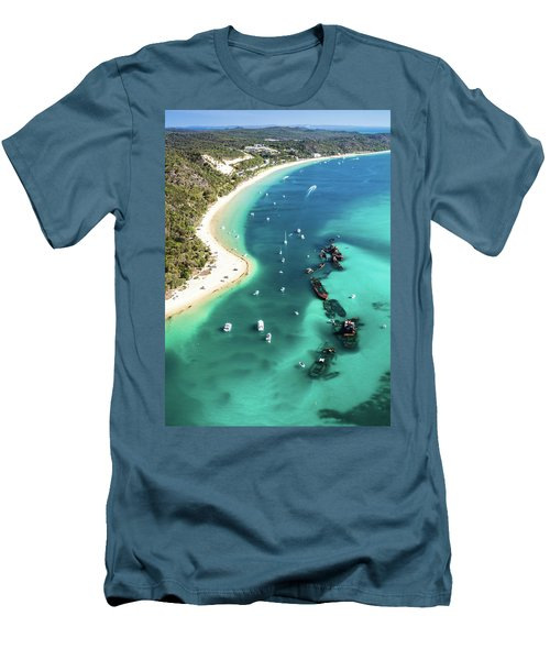 Tangalooma Wrecks Men's T-Shirt (Slim Fit) by Peta Thames