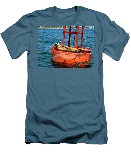 Men's T-Shirt (Slim Fit) featuring the photograph Tanning Sea Lion On Buoy by Mariola Bitner