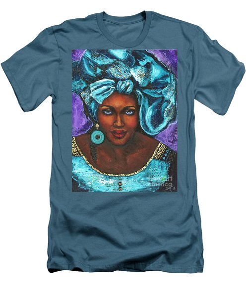 Men's T-Shirt (Slim Fit) featuring the painting Teal Headwrap by Alga Washington