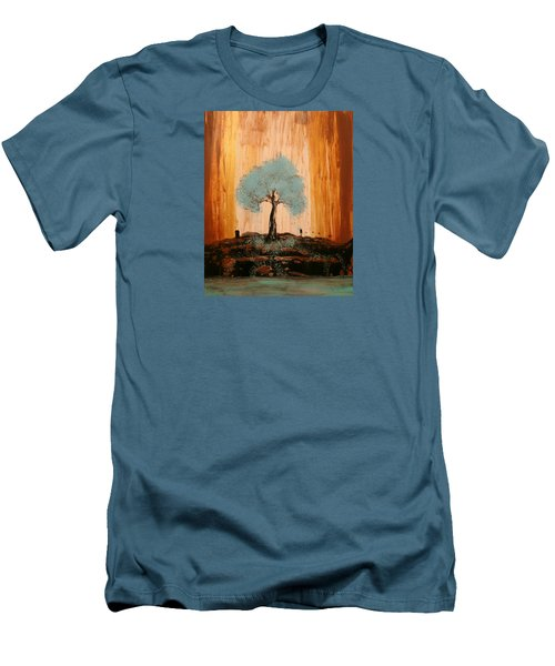 Teal Turquoise Tree Men's T-Shirt (Athletic Fit)