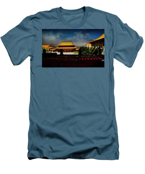 Men's T-Shirt (Slim Fit) featuring the photograph Temple Candles by Joseph Hollingsworth