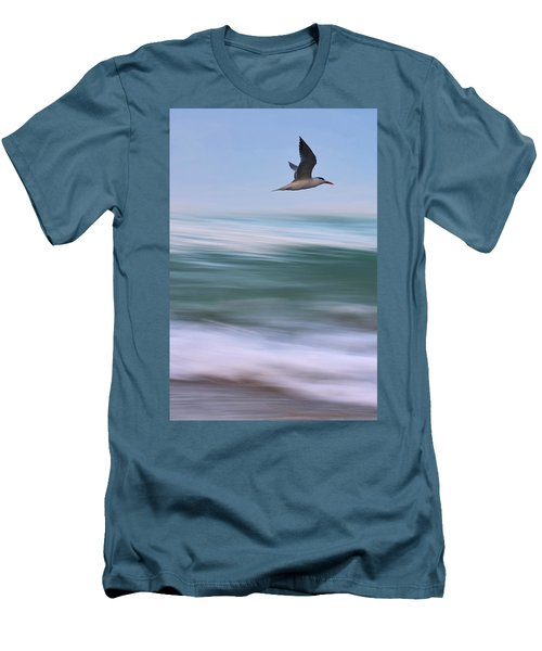 Men's T-Shirt (Slim Fit) featuring the photograph Tern Flight Vert by Laura Fasulo