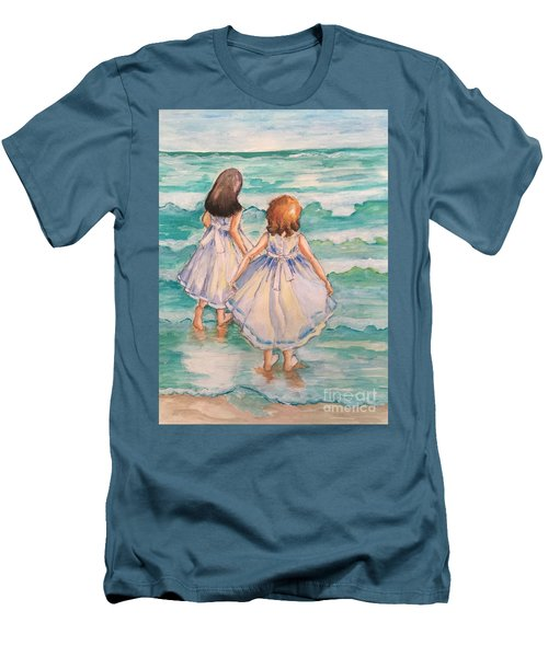 Men's T-Shirt (Slim Fit) featuring the painting Testing The Waters by Rosemary Aubut